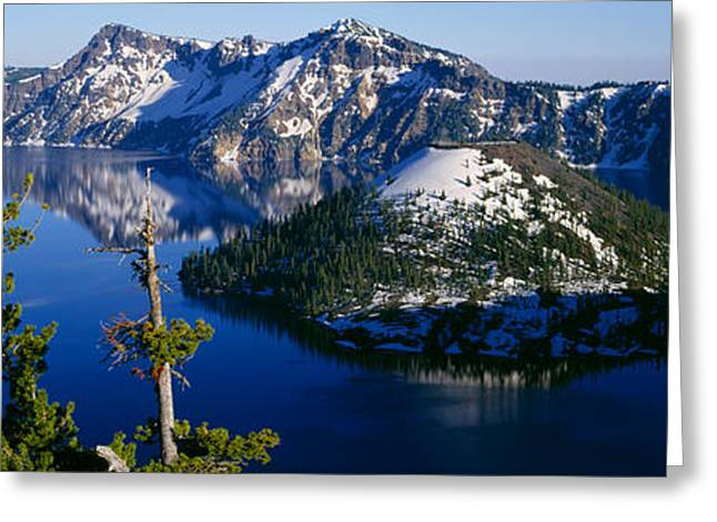 Crater Lake View Greeting Cards - High Angle View Of A Lake, Crater Lake Greeting Card by Panoramic Images