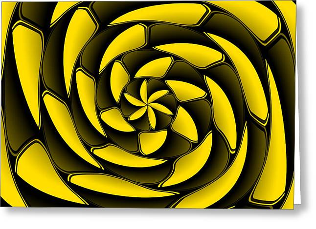 Algorithmic Abstract Greeting Cards - High contrast black and yellow Greeting Card by Gaspar Avila