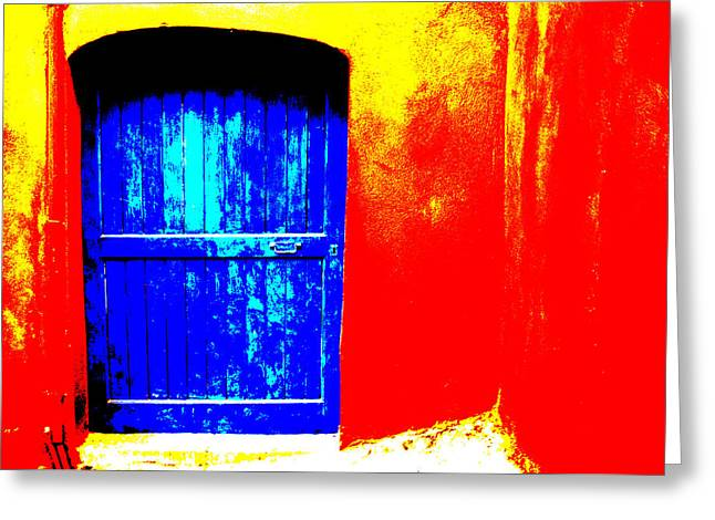 Santa Fe Greeting Cards - High Contrast Door Greeting Card by Stacy Gold