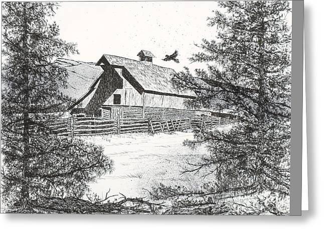 Old Barn Drawing Greeting Cards - High Country Barn Greeting Card by Judy Sprague