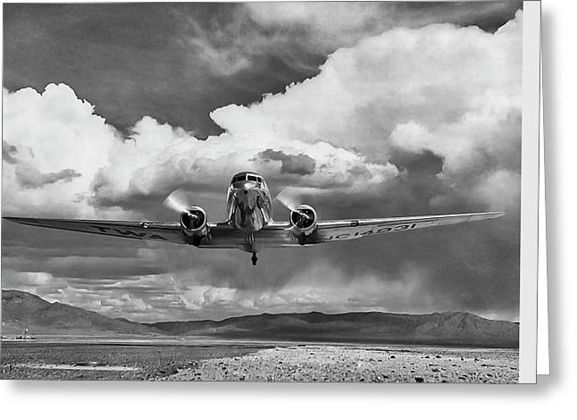 Vintage Design Greeting Cards - High Desert DC-3 Greeting Card by Peter Chilelli