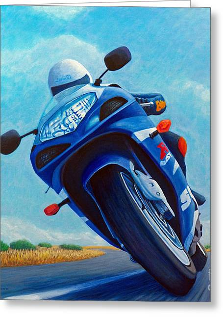 Motorcycle Greeting Cards - High Desert Pass - Suzuki GSXR1000 Greeting Card by Brian  Commerford