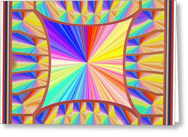 Abstract Digital Mixed Media Greeting Cards - High Energy Sparkle Rainbow Decorations Greeting Card by Navin Joshi