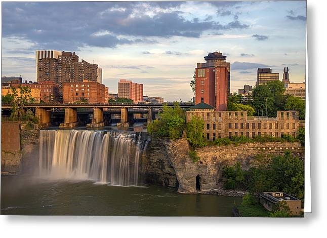 Rochester Skyline Greeting Cards - High Falls District Rochester Greeting Card by Mark Papke