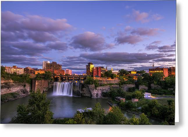 Rochester Skyline Greeting Cards - High Falls Dusk Greeting Card by Mark Papke