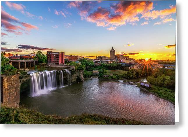 High Falls Gorge Greeting Cards - High Falls Rochester NY Greeting Card by Mark Papke