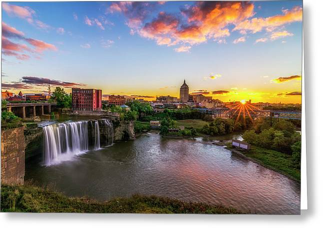 Rochester Skyline Greeting Cards - High Falls Rochester NY Greeting Card by Mark Papke