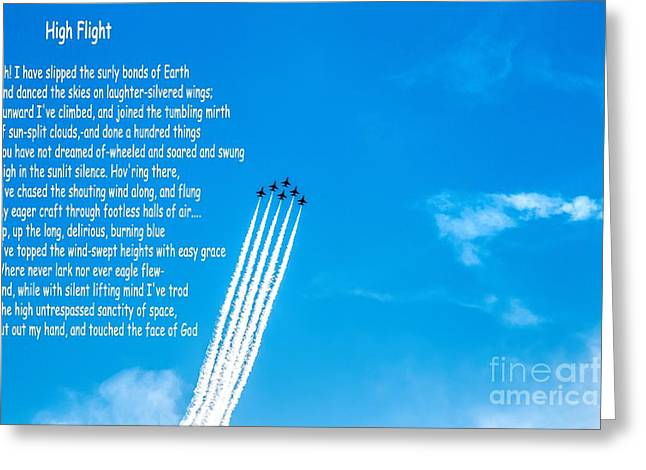 High Flight Greeting Card by Jon Burch Photography