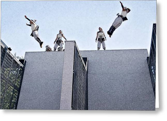 Acrobat Image Greeting Cards - High Flyers Greeting Card by Carol Deltoro