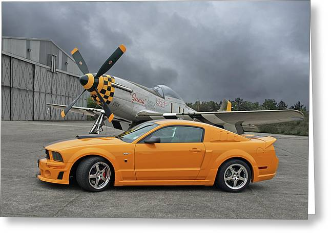 High Flyers - Mustang And P51 Greeting Card by Gill Billington