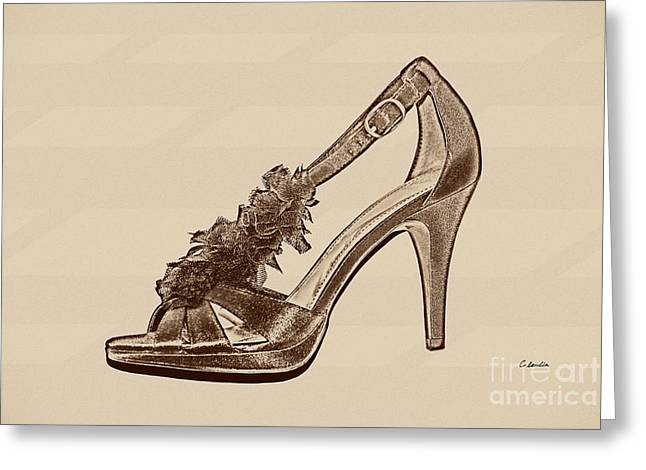 First Love Greeting Cards - High Heels - Gold Greeting Card by Claudia  Ellis