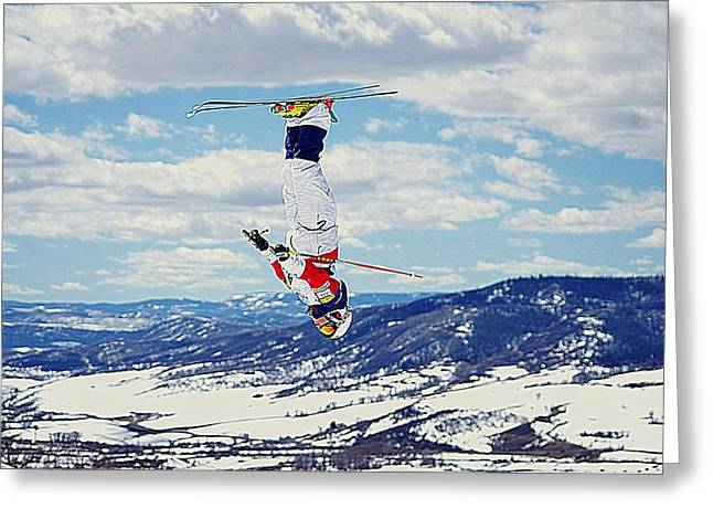 Freestyle Skiing Greeting Cards - High in the Mountains Greeting Card by Matt Helm