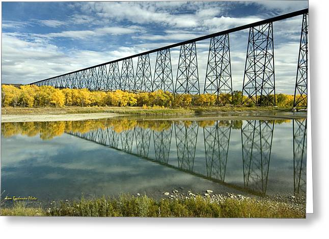 Train Bridges Greeting Cards - High Level Bridge in Lethbridge Greeting Card by Tom Buchanan