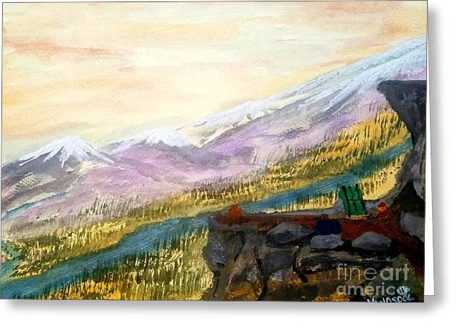 High Mountain Camping - Original Watercolor Greeting Card by Scott D Van Osdol
