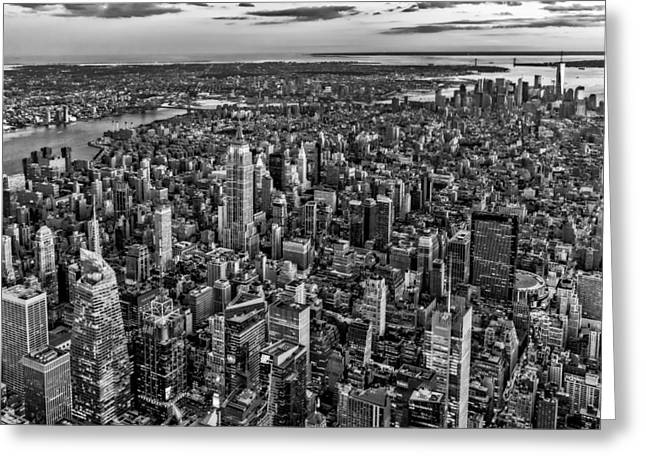 Black Top Greeting Cards - High Over Manhattan BW Greeting Card by Susan Candelario