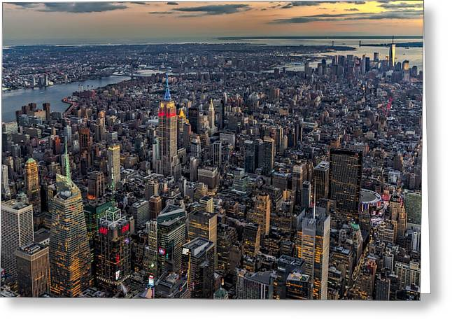 River View Greeting Cards - High Over Manhattan Greeting Card by Susan Candelario