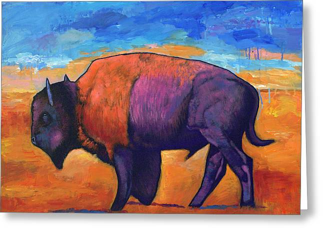 Bison Paintings Greeting Cards - High Plains Drifter Greeting Card by Johnathan Harris