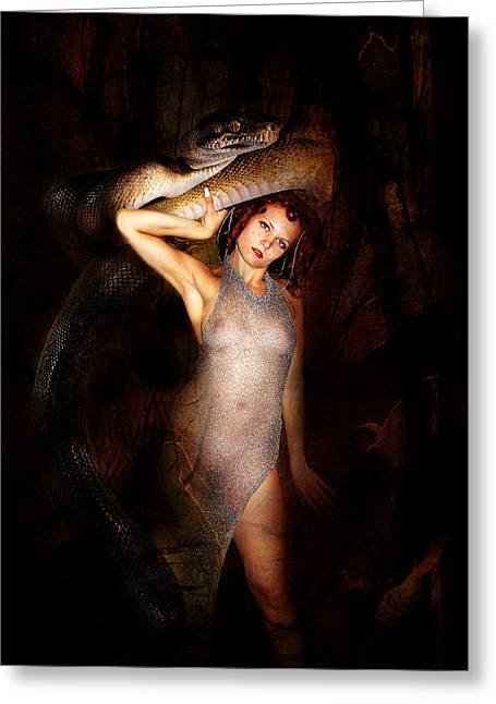 Nude Tapestries - Textiles Greeting Cards - High Priest and her Snake Greeting Card by Sandy Viktor Nys