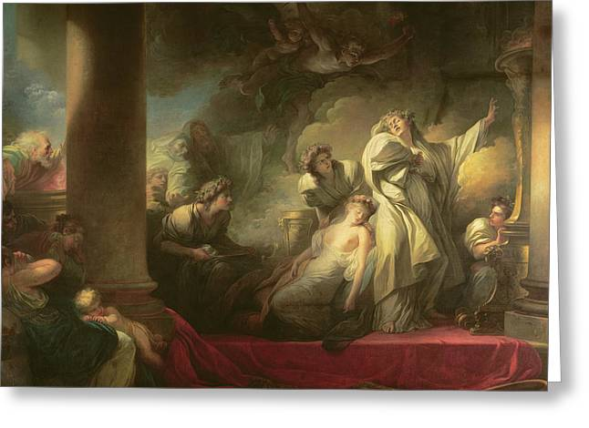High Priest Coresus Sacrificing Himself To Save Callirhoe Greeting Card by Jean-Honore Fragonard