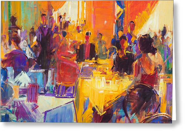 Menu Paintings Greeting Cards - High Society Greeting Card by Peter Graham