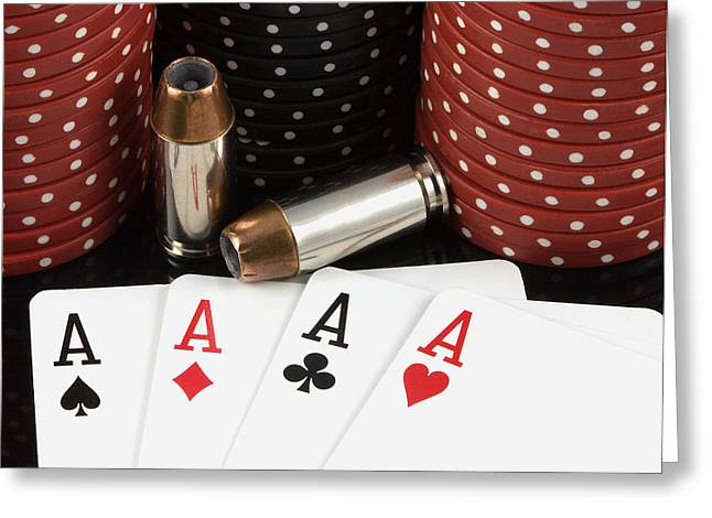 High Stakes Poker Greeting Card by Al  Mueller