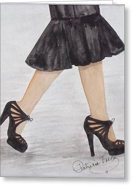 High Heeled Tapestries - Textiles Greeting Cards - High Stepper Greeting Card by Patricia Voelz
