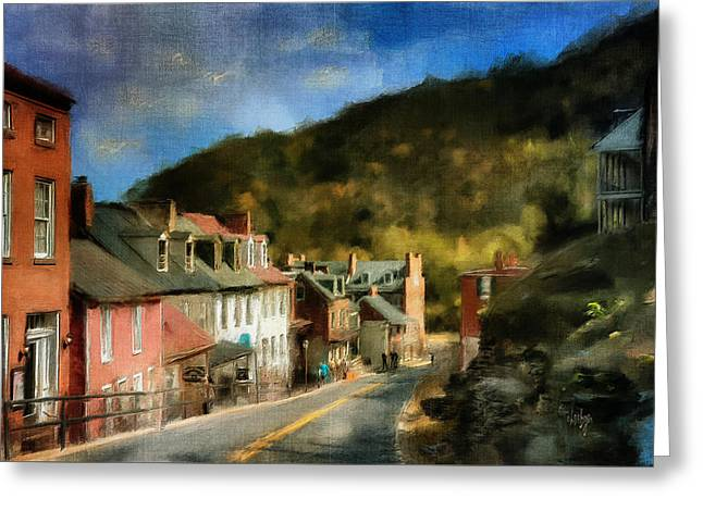 Civil Greeting Cards - High Street In The Early Evening Greeting Card by Lois Bryan