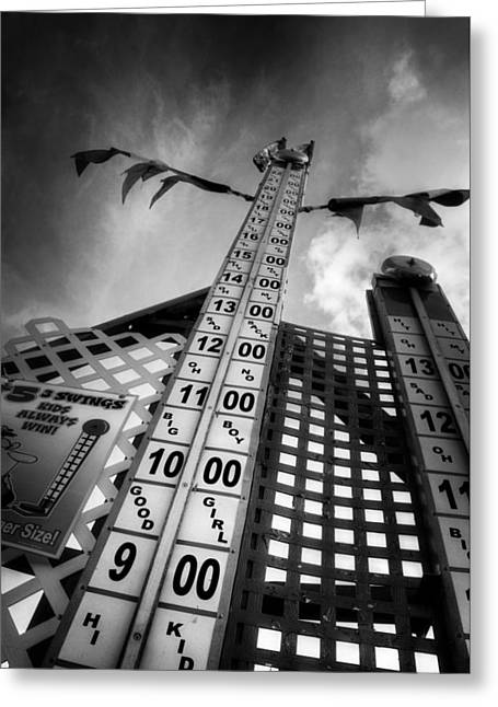 Striker Greeting Cards - High Striker in Black and White Greeting Card by Greg Mimbs