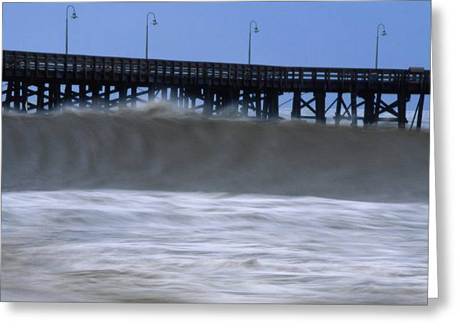 High Surf - Ventura Pier Greeting Card by Soli Deo Gloria Wilderness And Wildlife Photography