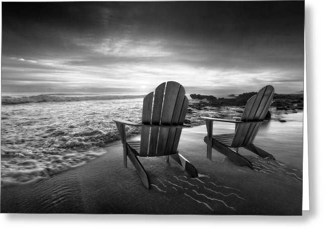 Ocean. Reflection Greeting Cards - High Tide in Black and White Greeting Card by Debra and Dave Vanderlaan