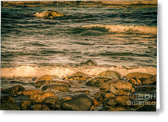 Abstract Beach Landscape Greeting Cards - High tide on Plum Island Greeting Card by Claudia Mottram