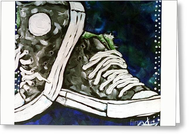 Hightop Sneakers Greeting Cards - High Top Heaven Greeting Card by Jackie Carpenter