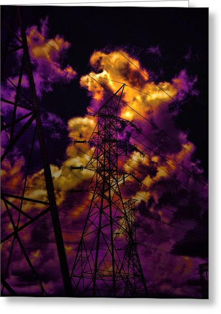 Dark Skies Greeting Cards - High Voltage Greeting Card by Marcie  Adams
