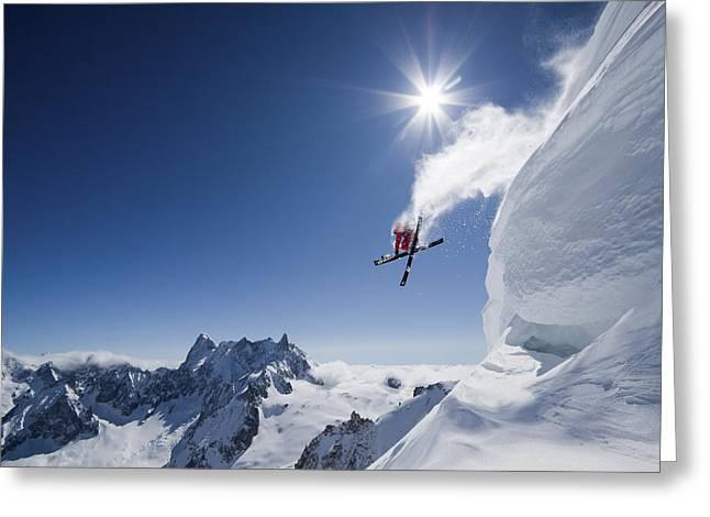Ski Greeting Cards - Higher Greeting Card by Tristan Shu