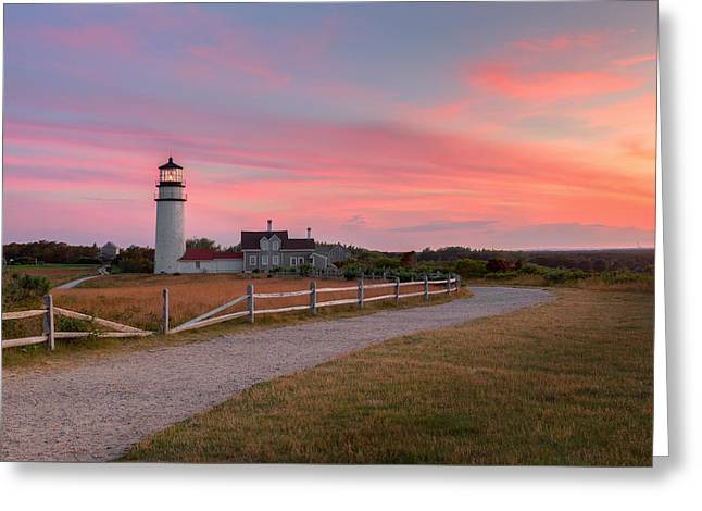 Historic Lighthouses Greeting Cards - Highland Light Sunset 2015 Greeting Card by Bill Wakeley