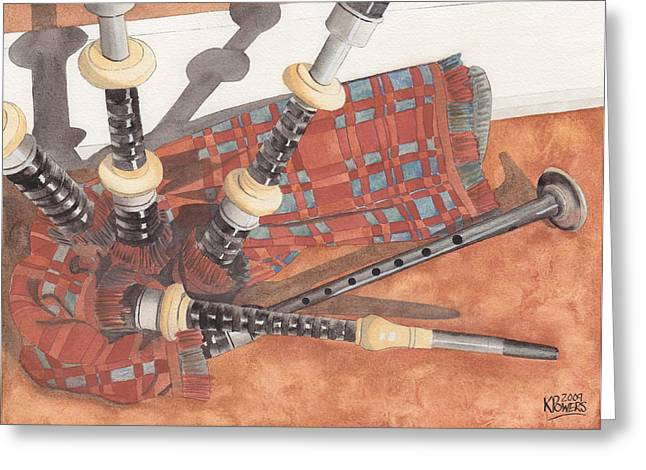 Highland Pipes II Greeting Card by Ken Powers