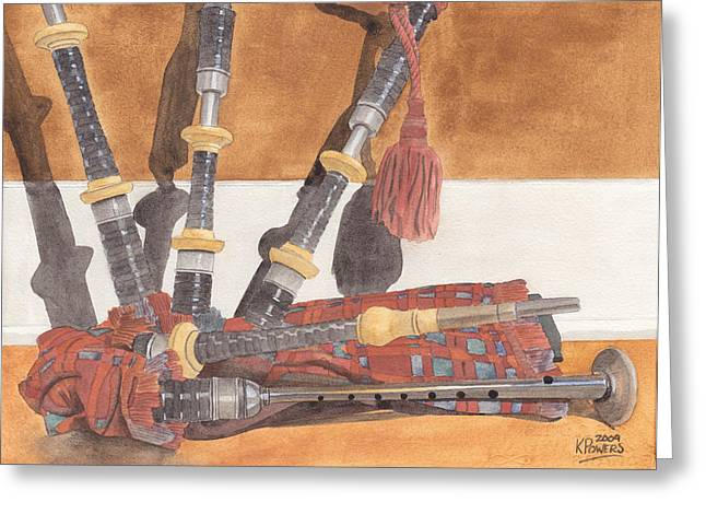 Highland Pipes Greeting Card by Ken Powers