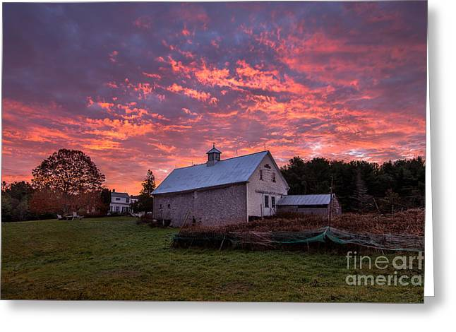Rural Maine Roads Greeting Cards - Highland Road Barn at Sunrise Greeting Card by Benjamin Williamson