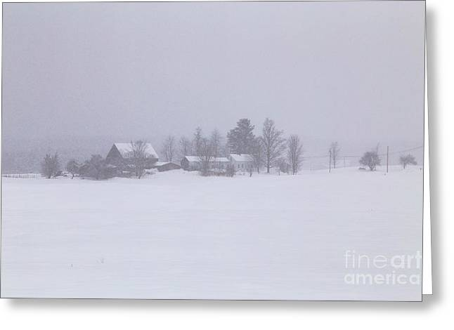 Highland Road Barn In The Snow Greeting Card by Benjamin Williamson