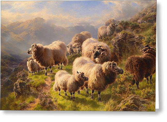 Mountainside Art Greeting Cards - Highland Wanderers  Greeting Card by William Watson