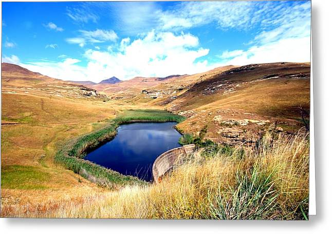 Blue Green Water Greeting Cards - Highlands Greeting Card by Riana Van Staden