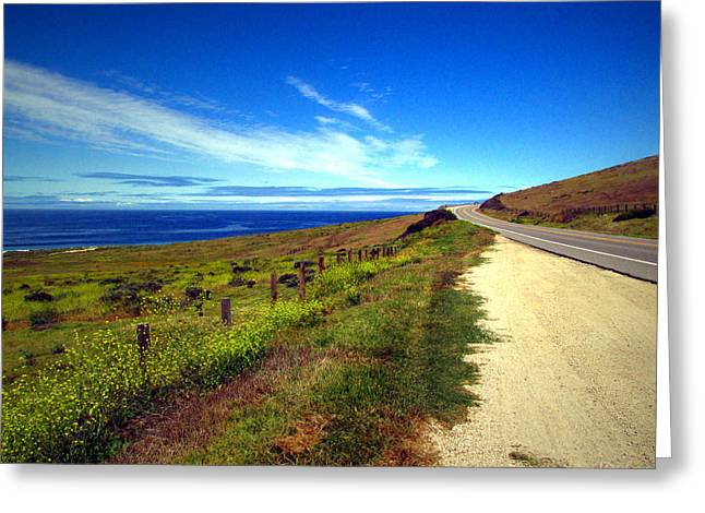 Big Sur Beach Greeting Cards - Highway 1 Looking North Of Point Sur Greeting Card by Joyce Dickens