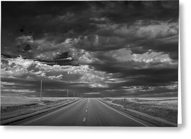 Montana Landscapes Photographs Greeting Cards - Highway 2 on the Northern Montana Prairie Greeting Card by Randall Nyhof
