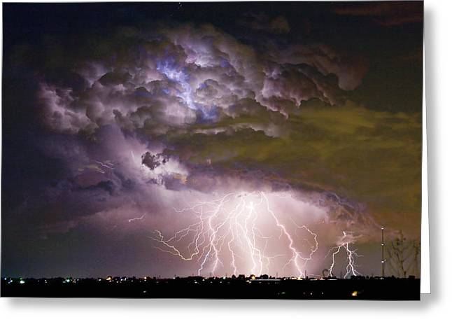 Electricity Greeting Card featuring the photograph Highway 52 Storm Cell - Two And Half Minutes Lightning Strikes by James BO  Insogna