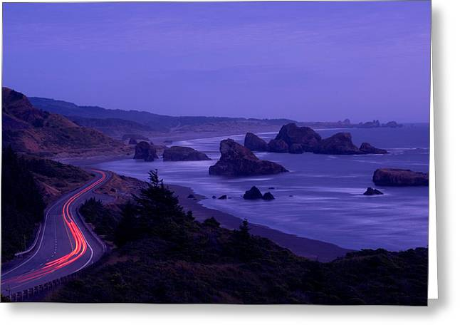 Highway Along The Coast, Us Route 101 Greeting Card by Panoramic Images