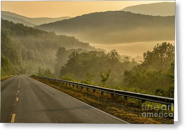 Peaceful Scene Greeting Cards - Highway Sunrise Greeting Card by Thomas R Fletcher