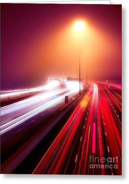 Stop Light Greeting Cards - Highway traffic light trails in fog at nighttime Greeting Card by Oleksiy Maksymenko