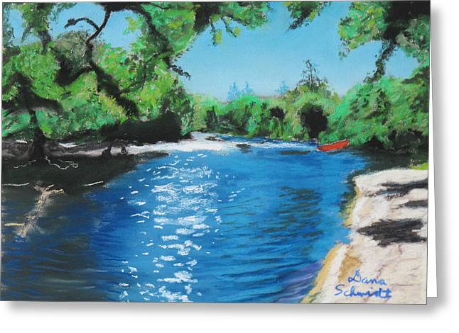Canoe Pastels Greeting Cards - Hiking Along the Little Big Econ Greeting Card by Dana Schmidt