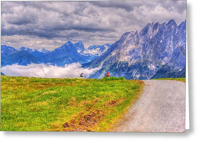 Swiss Photographs Greeting Cards - Hiking At Grindelwald Greeting Card by Susan Dost