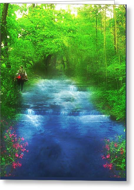 Fishing Trip Greeting Cards - Hiking at the Rivers Edge Greeting Card by Gravityx9  Designs